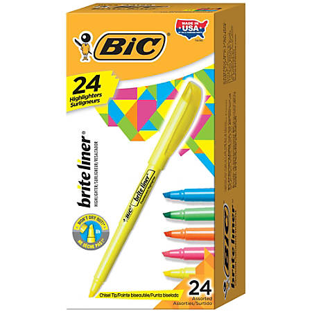 BIC® Brite Liner® Highlighters, Assorted, Box Of 24