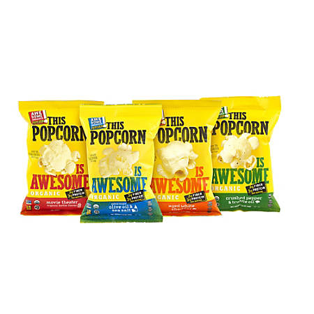 Awesome Organics This Popcorn Is Awesome Organic Popcorn Variety Pack, 1 Oz, Pack Of 20