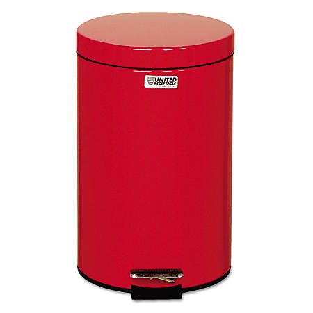 Rubbermaid® Commercial Defenders® Stainless-Steel Medical Step Can, Round, 3.5 Gallons, Red