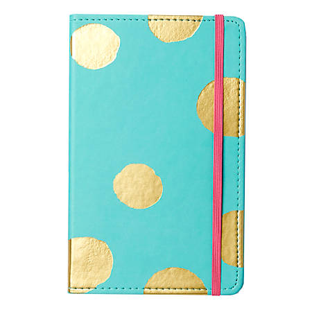 """Sincerely A Collection by C.R. Gibson® Leatherette Journal, 8 1/4"""" x 5 1/8"""", Turquoise Gold Dot"""