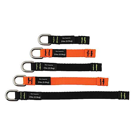 Ergodyne Squids® 3700 Web Tool Tails™, Assorted Sizes, 2 Lb, Black/Orange, Pack Of 6 Tails