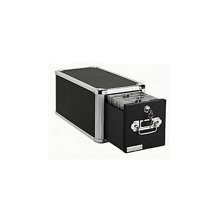 "Vaultz® Single-Drawer CD Cabinet, 7 1/2""H x 7 1/2""W x 15""D, Black"