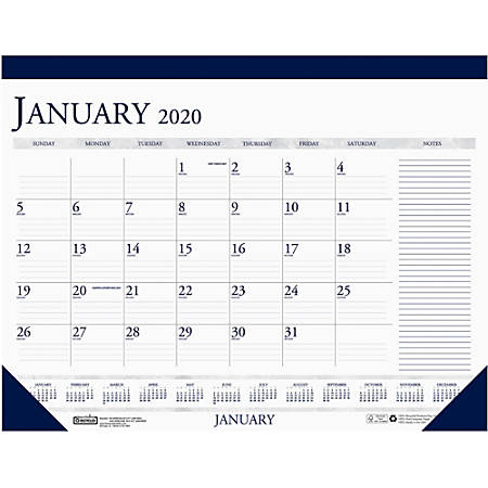 """House of Doolittle Blue/Gray Print Monthly Desk Pad - Yes - Monthly - 1 Year - January 2019 till December 2019 - 1 Month Single Page Layout - 22"""" x 17"""" - Desk Pad - Blue"""