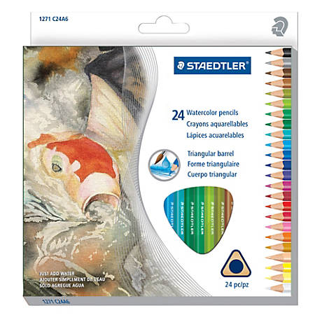 Staedtler® Watercolor Pencils, 5 mm, Assorted Colors, Box Of 24 Pencils