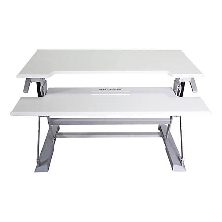 """Victor® High Rise™ DCX760W Height-Adjustable Standing Desk Workstation, 36"""", White/Gray"""