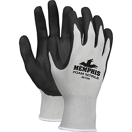 Memphis Shell Lined Protective Gloves - Medium Size - Nylon, Foam Palm, Nitrile Palm - Gray, Black, White - Knit Wrist, Knitted Cuff, Comfortable - For Material Handling, Assembling, Farming, Construction, Landscape, Plumbing, Shipping - 1 Dozen
