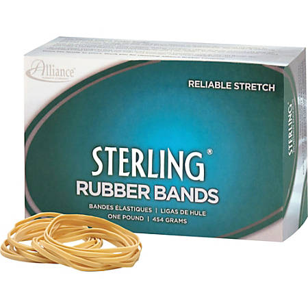 "Alliance Rubber 24335 Sterling Rubber Bands - Size #33 - Approx. 850 Bands - 3 1/2"" x 1/8"" - Natural Crepe - 1 lb Box"