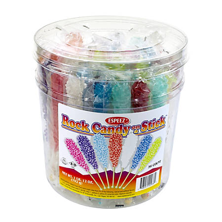 Espeez Rock Candy Sticks, Assorted Flavors, Tub Of 36