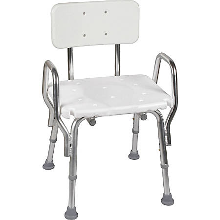 "DMI® Heavy-Duty Bath And Shower Chair With Arm, Removable Backrest, 28""H x 19""W x 13""D, White"