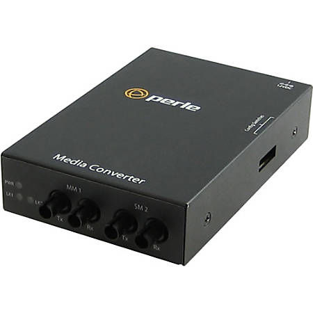 Perle S-1000MM-S2ST120 Media Converter - 2 x ST Ports - 1000Base-SX, 1000Base-ZX - Rail-mountable, Rack-mountable, Wall Mountable