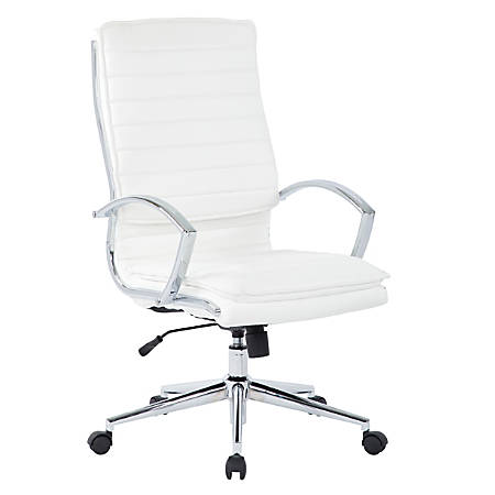 Office Star™ Pro-Line II™ SPX Series Bonded Leather High-Back Chair, White/Chrome