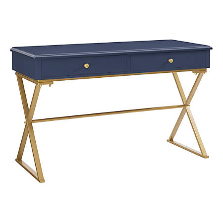 Linon Amy Campaign Desk, Blue/Gold