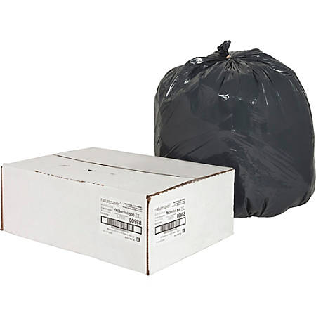 """Nature Saver 75% Recycled Heavy-Duty Trash Liners, 16 Gallons, 24"""" x 31"""", Black, Box Of 500"""