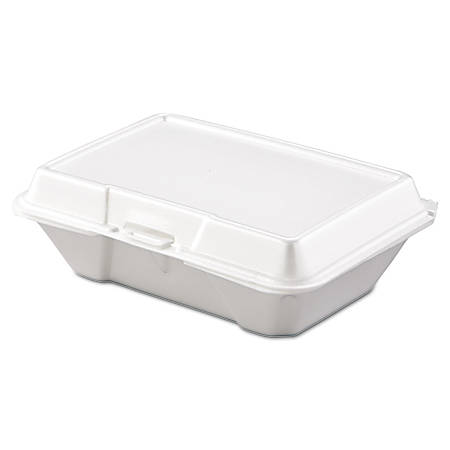 "Dart® Hinged-Lid Carryout Food Containers, 1 Compartment, 2 7/8""H x 6 3/8""W x 9 5/16""D, White, Pack Of 200"