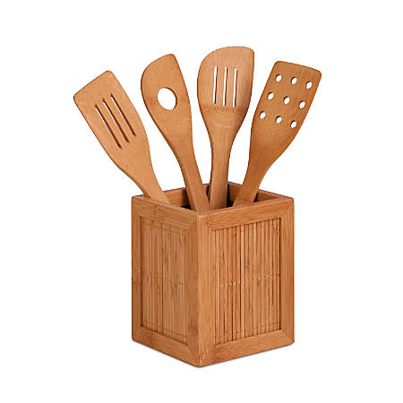 """Honey-Can-Do Bamboo Kitchen Caddy With 4 Utensils, 5 15/16""""H x 4 3/4""""W x 4 3/4""""D"""