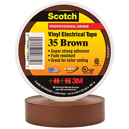 """3M™ 35 Color-Coded Vinyl Electrical Tape, 1.5"""" Core, 0.75"""" x 66', Brown, Pack Of 10"""