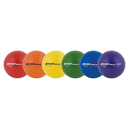 "Champion Sports Rhino Skin Softi Low-Bounce Balls, 6"", Assorted Colors, Set Of 6"