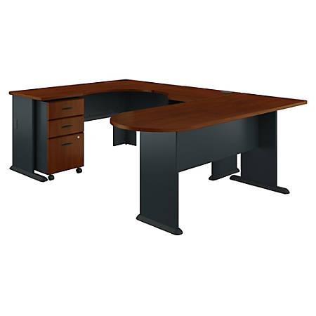 Bush Business Furniture Office Advantage U Shaped Corner Desk With Mobile File Cabinet, Hansen Cherry/Galaxy, Standard Delivery