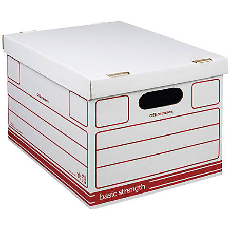 """Office Depot® Brand Economy Storage Boxes, 15"""" x 12"""" x 10"""", Letter/Legal Size, 60% Recycled, Red/White, EA"""