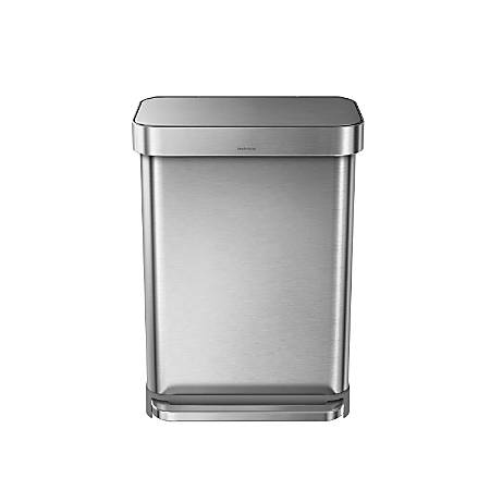 simplehuman® Rectangular Step Can With Liner Pocket, 14.5 Gallons, Brushed Stainless Steel