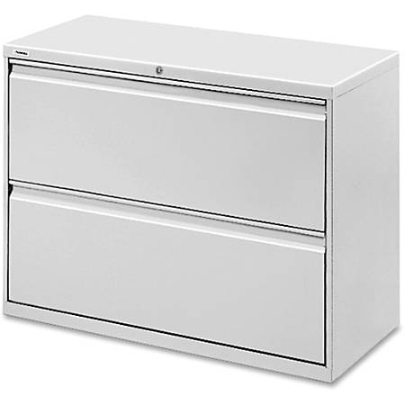 "Lorell® Fortress Series 42""W Steel Lateral File Cabinet, 2-Drawer, Light Gray"