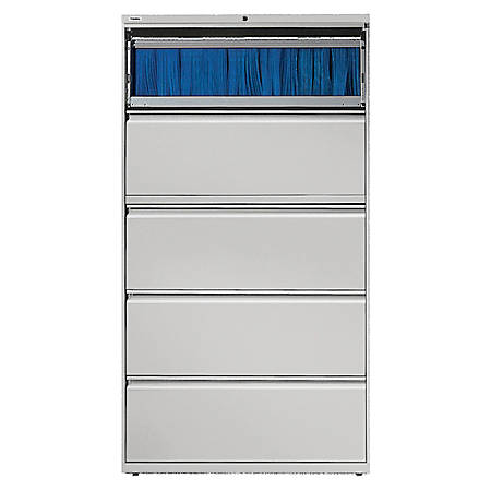 Lorell® Fortress Series 36''W 5-Drawer Steel Lateral File Cabinet, Light Gray