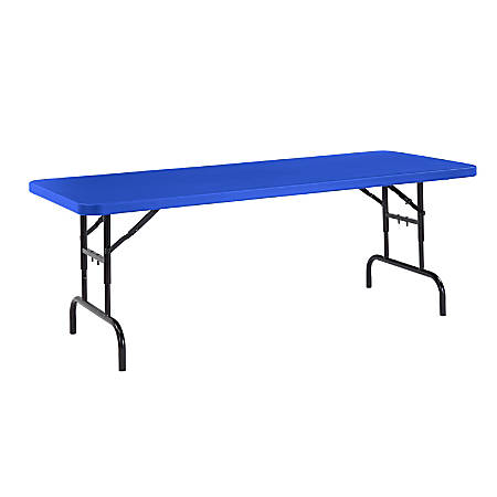 National Public Seating Primary Color Adjustable Folding Table, Rectangle, Blue/Black