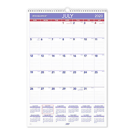 "AT-A-GLANCE® Academic Monthly Wall Calendar, 15-1/2"" x 22-3/4"", Blue/Red/White, July 2020 To June 2021, AY328"