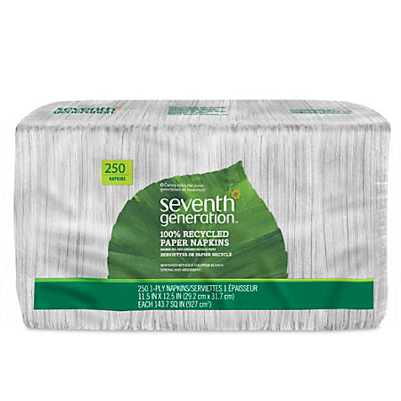 """Seventh Generation® 80% Recycled 1-Ply Unbleached Napkins, 11 1/2"""" x 12 1/2"""", White, Pack Of 250"""