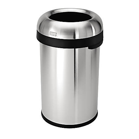 simplehuman® Bullet Open Trash Can, 21 Gallons, Brushed Stainless Steel