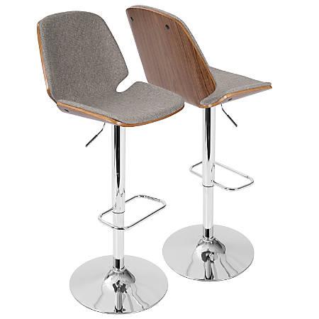 LumiSource Serena Mid-Century Modern Barstool, Gray/Chrome