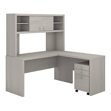 kathy ireland® Office by Bush Business Furniture Echo L Shaped Desk With Hutch And Mobile File Cabinet, Gray Sand, Standard Delivery