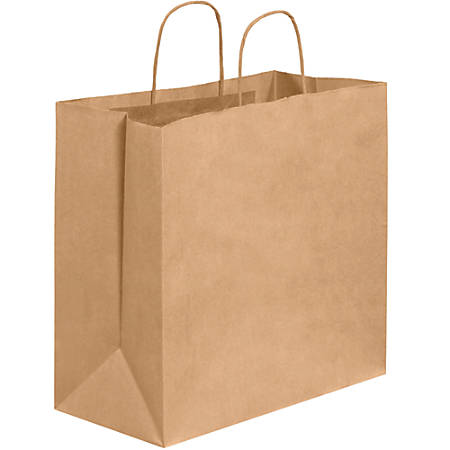 "Partners Brand Paper Shopping Bags, 13""H x 7""W x 13""D, Kraft, Case Of 250"