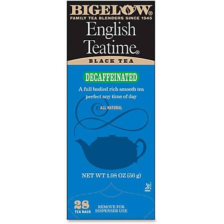 Bigelow English Tea Time Decaffeinated Tea Bags, Box Of 28
