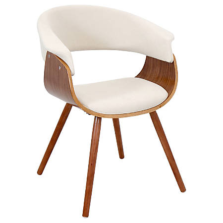 Lumisource Vintage Mod Chair, Cream/Walnut