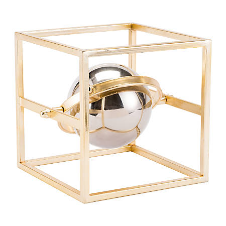 "Zuo Modern Floating Orb Sculpture, 8 3/4""H x 9 7/16""W x 8 3/4""D, Gold/Silver"