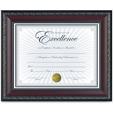 "Dax Burns Group Gold Accent World Class Document Frame - 11"" x 8.50"" Frame Size - Rectangle - Wall Mountable, Desktop - Vertical, Horizontal - 1 Each - Walnut, Gold, Taupe"