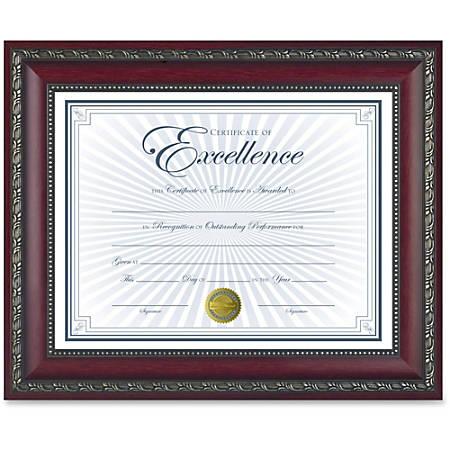 "Dax Burns Group Gold Accent World Class Document Frame - 11"" x 8.50"" Frame Size - Rectangle - Wall Mountable, Desktop - Horizontal, Vertical - 1 Each - Rosewood, Gold"
