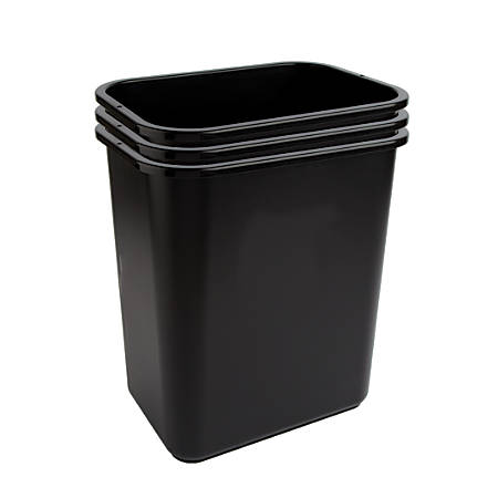 "Highmark™ Wastebaskets, 6.5 Gallons, 14-1/4""H x 10-1/8""W x 15""D, Black, Pack Of 3 Wastebaskets"