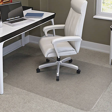 "deflecto RollaMat Chairmat - Home, Office, Carpet - 60"" Length x 46"" Width - Lip Size 12"" Length x 25"" Width - Rectangle - Textured - Vinyl - Clear"