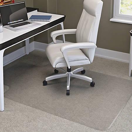 "deflecto RollaMat Chairmat - Home, Office, Carpet - 60"" Length x 46"" Width - Lip Size 12"" Length x 25"" Width - Rectangle - Textured - Vinyl - Clear"