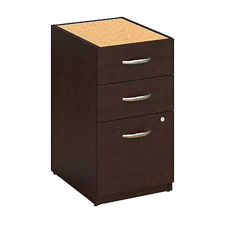 "Bush Business Furniture Components Elite 3 Drawer Pedestal, 16""W, Mocha Cherry, Premium Installation"