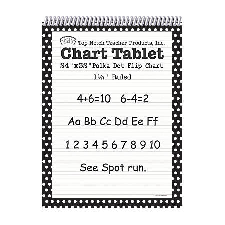 "Top Notch® Polka Dot Chart Tablets, 24"" x 32"", 1 1/2"" Ruled, Black, Pack Of 2"