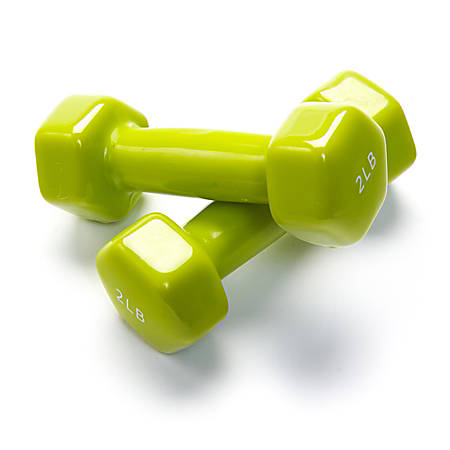 "Black Mountain Products Vinyl Dumbbell Set, 2 Lb, 6""H x 6""W x 6""D, Green, Pack Of 2"