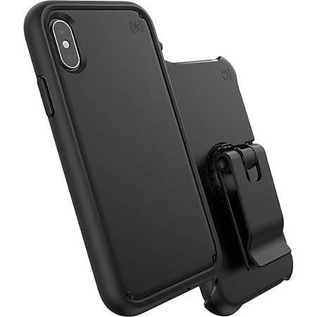 Speck Presidio ULTRA Carrying Case (Holster) for Apple iPhone X, iPhone Xs - Black - Impact Absorbing, Anti-slip, Scratch Resistant, Shatter Resistant, Dust Resistant Port, Dirt Resistant Port, Drop Resistant, Temperature Resistant, Chemical Resistant