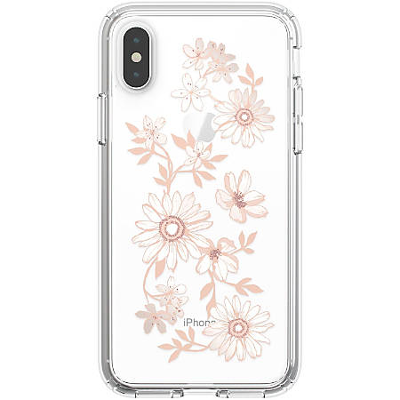 Speck Presidio Clear + Print Case - For Apple iPhone Xs, iPhone X - Embedded print - Fairytale Floral Peach Gold, Clear - Impact Absorbing, Shock Resistant, Scratch Resistant, Shatter Resistant, Drop Resistant, Temperature Resistant, Chemical Resistant