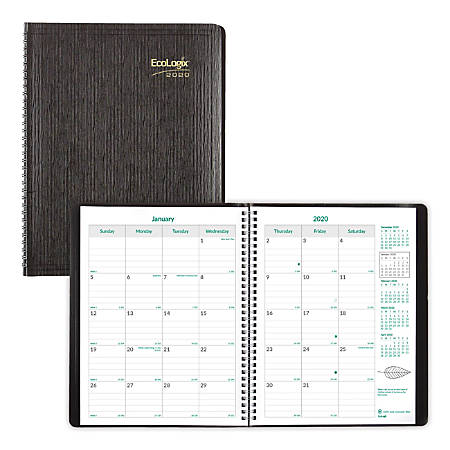 """Brownline® EcoLogix 14-Month Planner, 11"""" x 8-1/2"""", Black, 100% Recycled, December 2019 to January 2021"""
