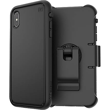 Speck Presidio ULTRA Carrying Case (Holster) for Apple iPhone Xs Max - Black - Impact Absorbing, Drop Resistant, Shock Resistant, Dust Resistant Port, Dirt Resistant Port, Scratch Resistant, Shatter Resistant, Temperature Resistant, Chemical Resistant