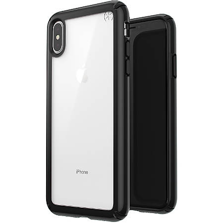 Speck Presidio Show iPhone Xs Max Case - For Apple iPhone Xs Max - Clear, Black - Drop Resistant, Impact Absorbing, Scratch Resistant, Shatter Resistant, Wear Resistant, Tear Resistant, Temperature Resistant, Chemical Resistant, Crack Resistant