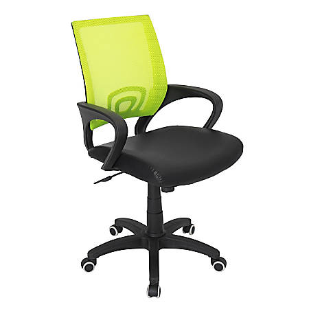 Lumisource Officer Mid-Back Chair, Black/Green/Black